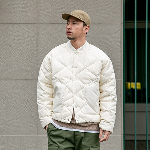 Roy two-button duck down jacket - Cream