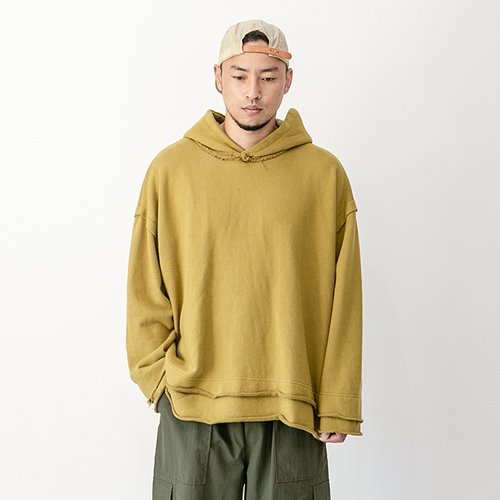Vintage cutting heavy cotton hoody - Mustard