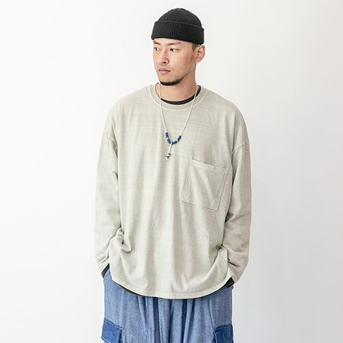Pigment washing cutting T-shirts - Khaki