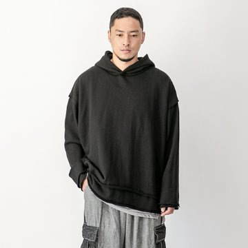 Vintage cutting heavy cotton hoody - Black