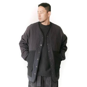 Reverse quilting 2-way jacket - Khaki / Charcoal